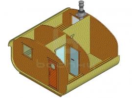 Баня-квадро-овалбочка «4×4» четыре помещения