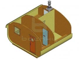 Баня-квадро-овалбочка «4×4» три помещения